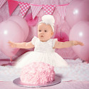 Baby girl ceremony dress and organic cotton headband - Ceremony Collection