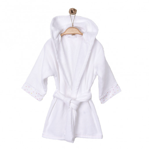 Baby and child hooded bathrobe in organic cotton gots Hearts