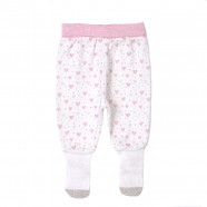 Baby girl's pants with sock-like feet - organic cotton - Girly