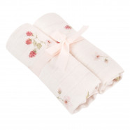 Bamboo Muslin Multipurpose Swaddles - Set of 2 - Raspberry
