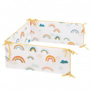 Premium cot bumper - suitable for all beds in 100% certified cotton - Rainbow