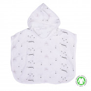 Baby and children's organic cotton muslin bath poncho - Bears
