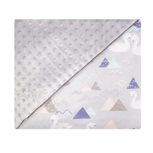 Double-sided cotton and minky baby blanket - Swans