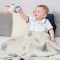 Wooden and organic cotton rattle - rabbit