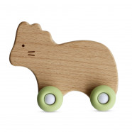 Teether with wheels - wood and silicone