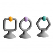 Teething ring toy with suction cup - 3 pieces