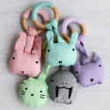 Wooden and silicone teething ring with cotton soft toy - Animal