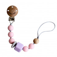 Pacifier clip wood beads and food-grade silicone