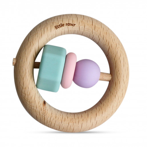Teething and motor skills rattle - wood and silicone