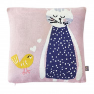Organic cotton cushion cover - Pink kitten