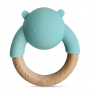 Wooden and silicone teething ring - Animal