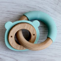 Double wooden and silicone teething ring