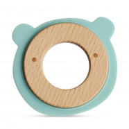 Wooden and silicone teething ring