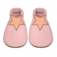 Soft leather baby slippers - Teddy bear