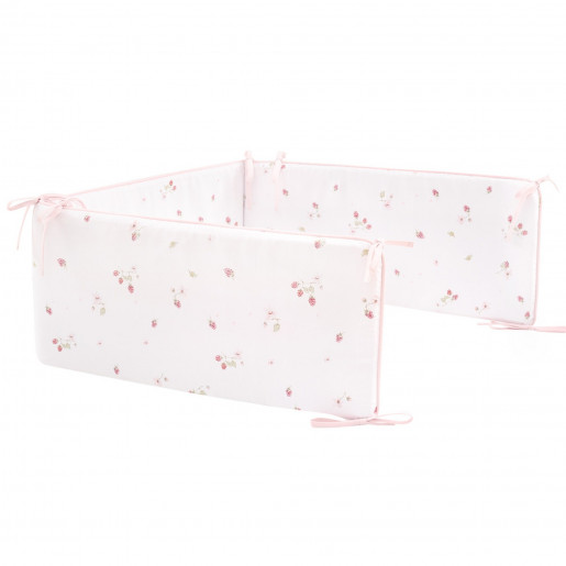 Universal cotton cot bumper, RASPBERRY