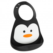 BPA free silicone bib with collector - Penguin