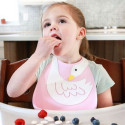 BPA free silicone bib with collector - Swan
