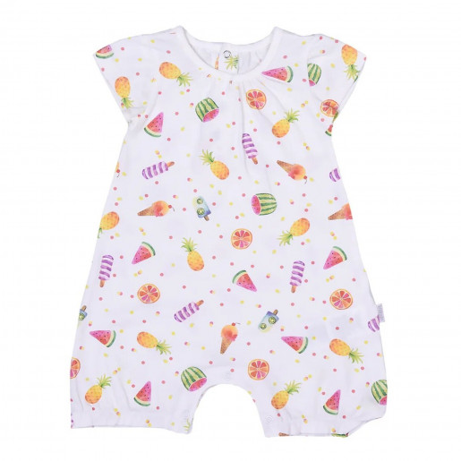 Baby girl's organic cotton playsuit, Fruits