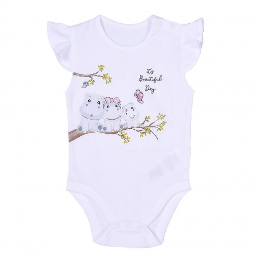 Baby body in organic cotton - Hippo