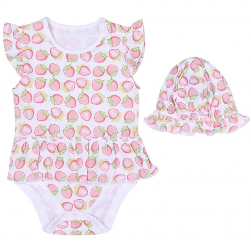 Body and hat in organic cotton - short sleeves with ruffles - Strawberry