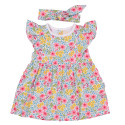 Baby dress with matching headband in organic cotton - Anne