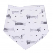 Bandana bib in organic cotton, Dachshund