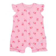 Baby girls' organic cotton sleeveless romper playsuit - Pink flamingos