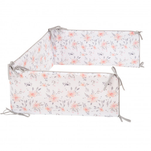 Premium cot bumper - suitable for all beds in 100% certified cotton - Coral