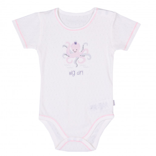 Baby girl's short-sleeved bodysuit, Poulpy