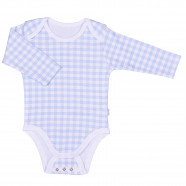 Organic cotton long-sleeved gingham baby bodysuit