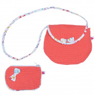 Coral Honeycomb Crossbody Bag with Coin Purse
