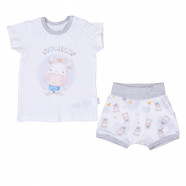 Organic cotton baby t-shirt and shorts set, Milk