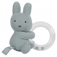Rattle with teething ring, Miffy in almond green knit