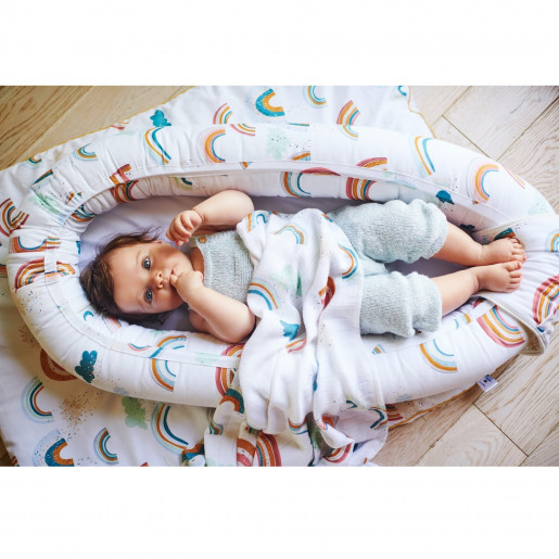 Quilted baby cocoon - bed reducer nest, RAINBOW