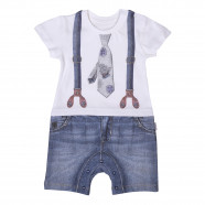 Baby boy playsuit in organic cotton from 1 month to 18 months - 3D printing - Gabin Collection