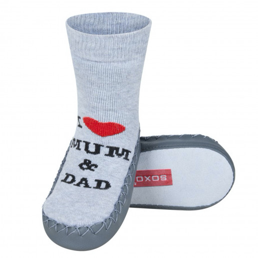 Baby sock slippers with leather sole - I love Mum & Dad