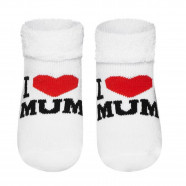 Baby socks in terry cotton - I love Mom