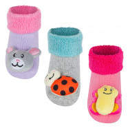 3-pack of non-slip activity socks - Animals - Girl