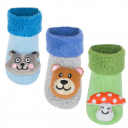 Pack of 3 pairs of non-slip activity socks - Animals - Boy