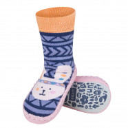 Baby sock slippers with leather sole - Aztec