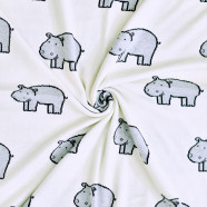 Lightweight organic cotton baby blanket - Hippo