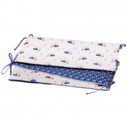Universal and reversible cot bumper, FAIRY-FLORE
