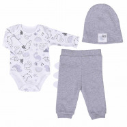 Baby clothes set in organic cotton 3 pieces, DINO