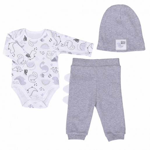 3-piece organic cotton baby clothing set - Dino