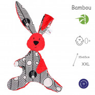 XXL baby comforter in bamboo muslin and minky - Kic Kic Rabbit - Red