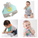 Bandana bib with activity toy & 3 in 1 teething ring