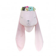 Wall decoration - stuffed animal trophy - Pink rabbit