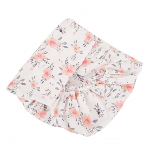 Baby fitted sheet in certified cotton - premium collection - Flora Corail