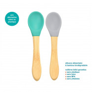 Bamboo and food-grade silicone baby spoons - latex, plastic and BPA free - set of 2
