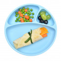 Baby plate with compartments with suction cup - oven and microwave compatible - latex, plastic and BPA free